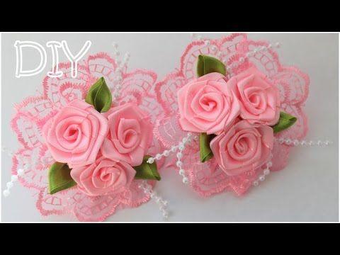 Резинки с Розами Своими Руками / Розы из Атласных Лент / Roses of Satin Ribbons - YouTube