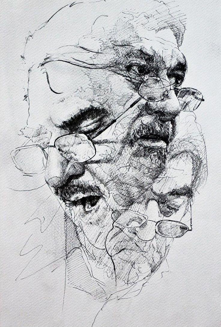Chenar Othman, pen and ink {contemporary figurative art male head eyeglasses man face portrait drawing #loveart} www.facebook.com/chnaaa1