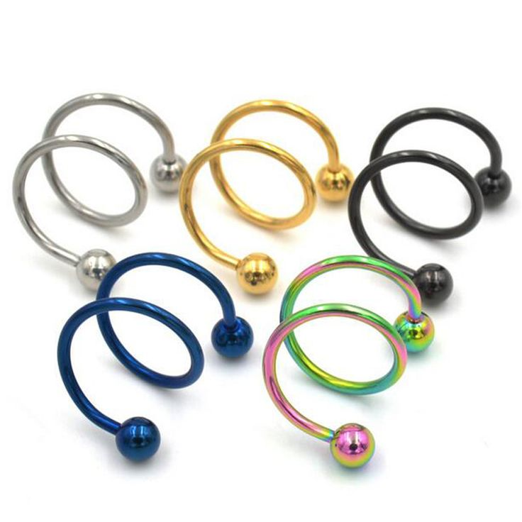 1piece1.2x8x4mm 16G ball Surgical Steel Double Spiral Twister Barbell  Lip Ring Ear Ring Labret Rings Body Piercing Jewelry