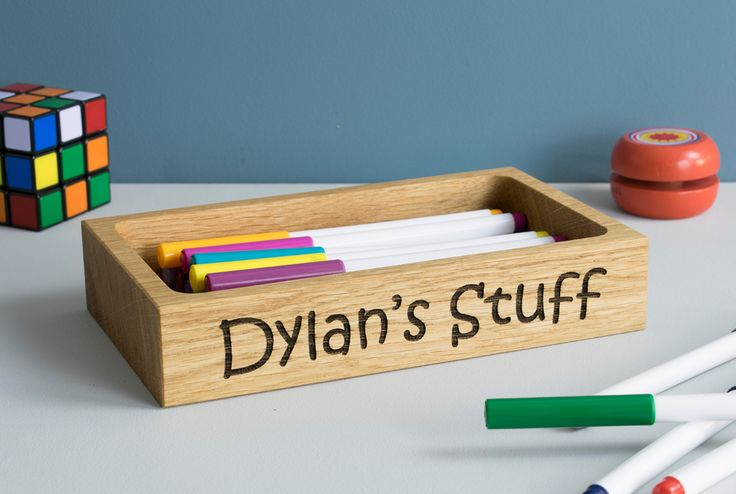 Personalised Wooden Kids Desk Tidy Tray by Beam Designs. £30