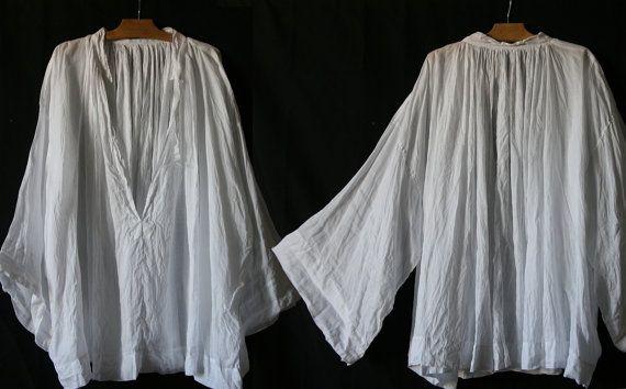 Vintage large tunique blanche en linon par SergineBroallier sur Etsy