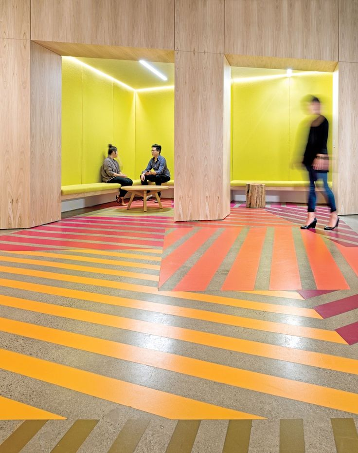 Yelp Office- Breakout Area with Colorful Floor.   San Francisco, California.