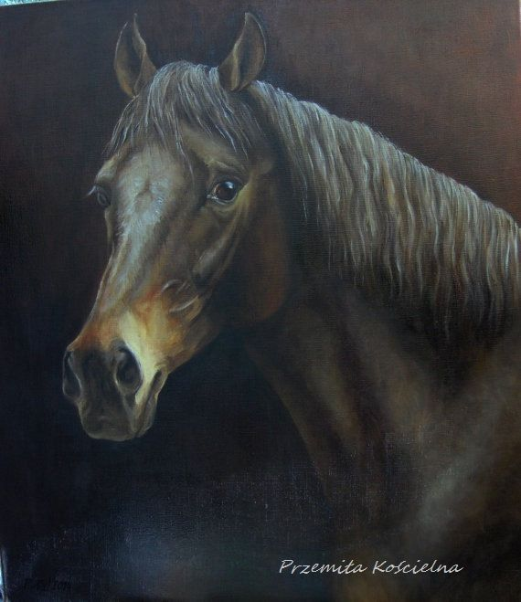 ORIGINAL OIL PAINTING ON CANVAS Your beloved horse, dog, cat or other pet painted by artist Przemila Koscielna (Pizl)  I am a full time professional artist. I paint dogs, horses, cats, wild animals, flowers and other topics of nature. I have 20 years experience painting dogs by nature and photography. My art style is realistic and capture the nature of the animal: his temperament and feelings.  I create for you realistic portrait of your favorite horse, dog or another pet  Size of image: 10…