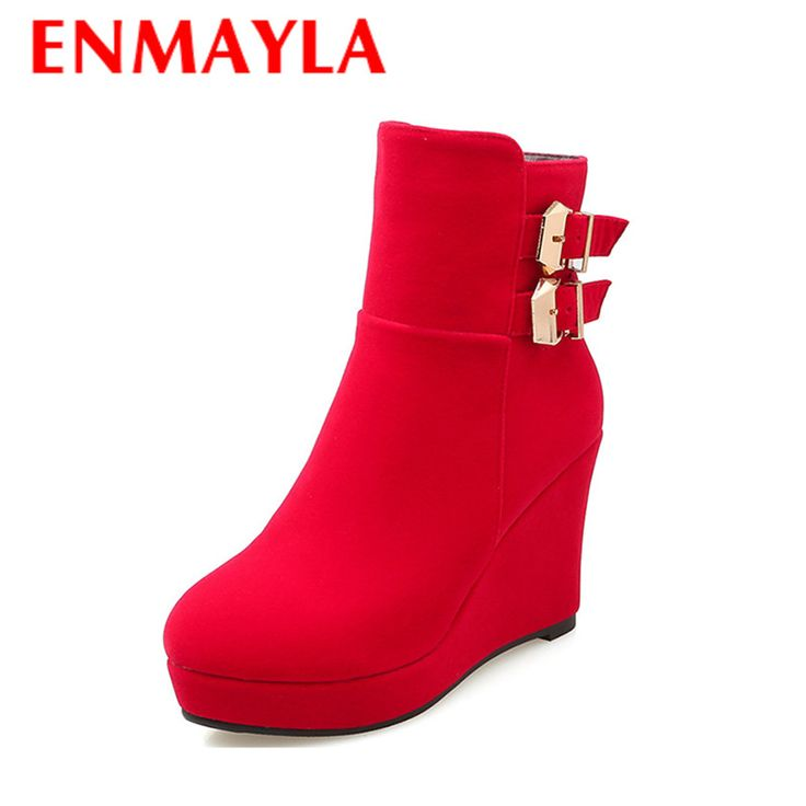 Find More Women's Boots Information about ENMAYLA New Sexy Red Shoes Woman Ankle Boots for Women High Heels Wedges Round Toe Winter Boots Buckle Strap Zip Platform Shoes,High Quality shoe sellers,China shoes ankle boot Suppliers, Cheap shoes men boots from Chengdu Ying Meier Shoes CO., LIMITED on Aliexpress.com
