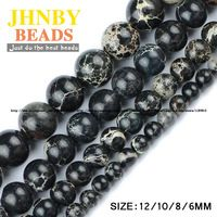 JHNBY Black Imperial Pearls Natural Pine Loose Beads Round High Quality Stone 6/8/10/12 MM Accessories Jewelry Bracelet Making DIY