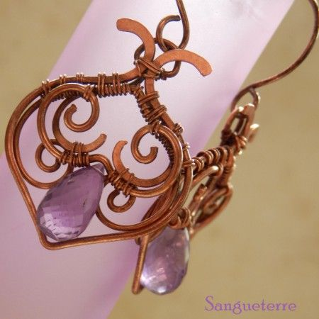 Morrea * violet earrings * wirewrapping * wirewrapped * wired * jewelry  * design * handmade * copper * amethyst