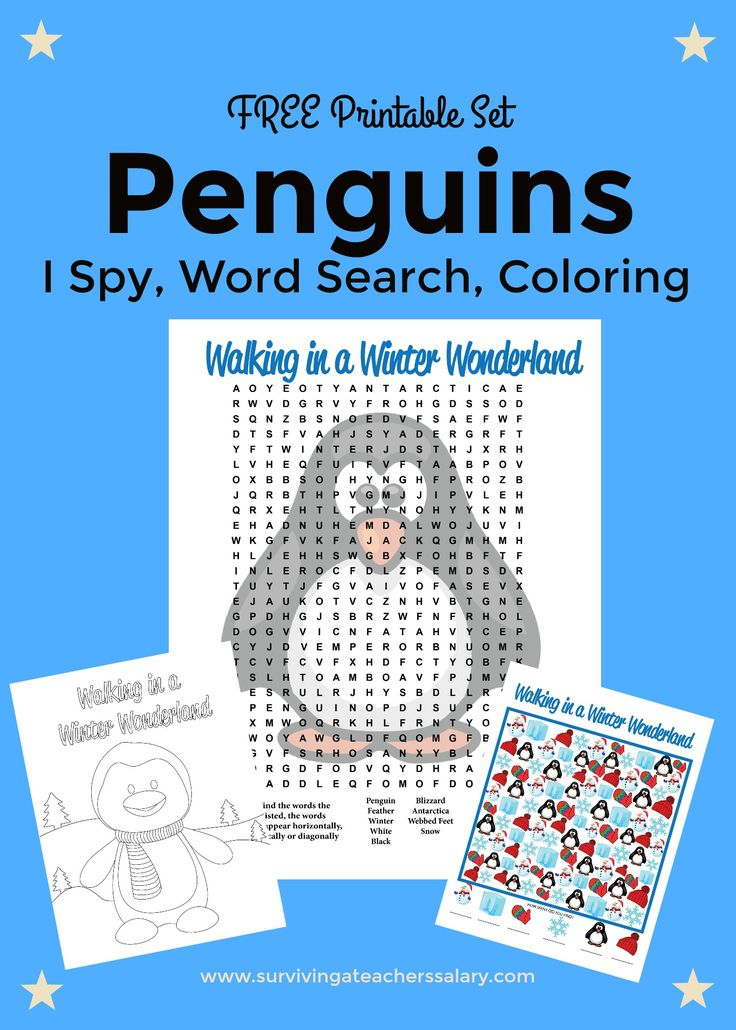 Penguins Printable Worksheet activity set - I Spy Math, Word Search & penguin coloring sheet. SO cute - pinning this for my penguin classroom theme school lessons.