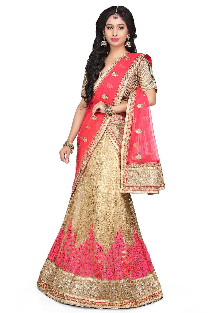 Buy Embroidered Net A Line Lehenga in Beige online, work: Embroidered, color: Beige, usage: Wedding, category: Lehenga Choli, fabric: Net, price: $187.00, item code: LTJ12, gender: women, brand: Utsav