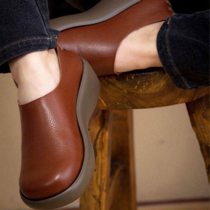 Aliexpress.com: Comprar Nuevo 2016 de las mujeres zapatos de mujer de piel de vaca cuero de grano Completo de cuero genuino mujeres de los planos de moda plataforma punta redonda zapatos de las mujeres de cuero snap on cinturón confiables proveedores de Global resource Co. Ltd.