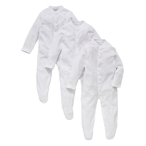 Buy John Lewis Organic Cotton Sleepsuits, White Online at johnlewis.com pack of 3 £9