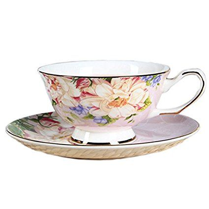 ufengke® European Bone China Flower Printing Afternoon Coffee Cup Tea Cup And Saucer - Pink