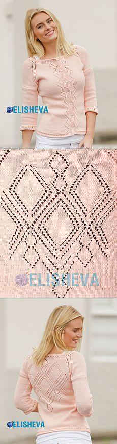 Весенне-летний жакет с рукавом 3/4, регланом и ажурным узором от Drops Design, вязаный спицами