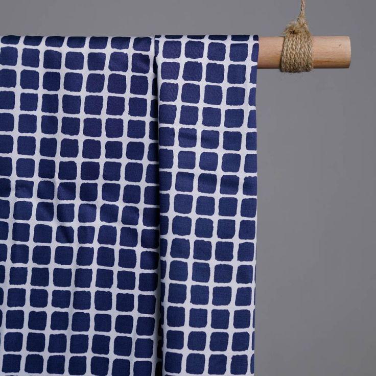 Achat tissu coton imprimé carreaux bleu et blanc x 10cm - pretty mercerie