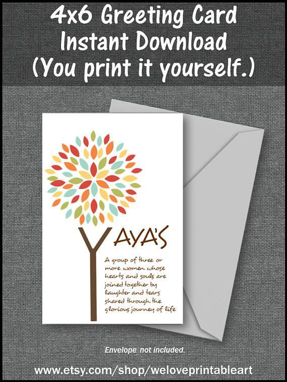 Set of 2 printable greeting cards yayas gift for best friend set of 2 printable greeting cards yayas gift for best friend sisterhood card m4hsunfo