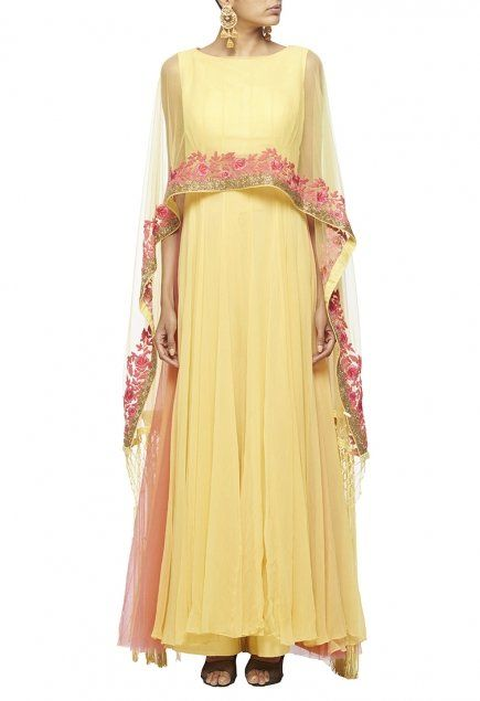 Lemon yellow anarkali with pink floral embroidered attached fringed cape