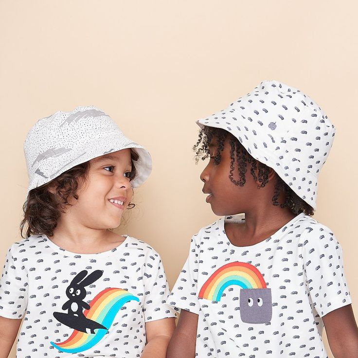 Albi - Unisex Organic Cotton Reversible Kids Sun Hat - Grey Scribble Waves Print