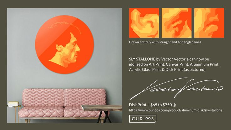 SLY STALLONE Disk Print by Vector Vectoria @ https://www.curioos.com/product/aluminum-disk/sly-stallone