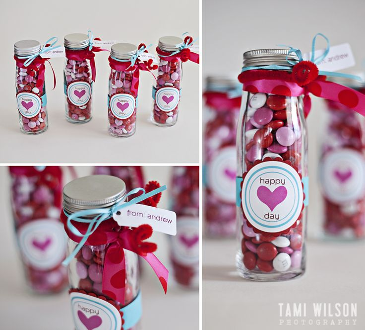 "empty glass bottles filled with cute little Valentine themed M&M's.   wrapped and glued a 3/4 inch strip of blue card stock around the middle and attached  ""Happy Heart Day"" label to the front.  Then  tied a couple pretty ribbons  and red pipe cleaner to the mouth of the bottle and attached a ""from"" tag and that's it!  Note:  to make the pipe cleaner curly you just wrap the ends around a pencil.: Teacher Gifts, Craft, Gift Ideas, Valentines Day, Valentine Ideas, Valentine Gifts, Valentines Gift, Happy Heart, Valentine S"