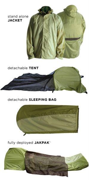 JakPak jacke t/ sleeping bag / tent.  Yeah