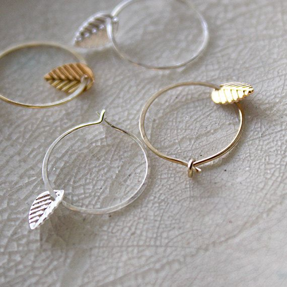 Tiny Small Hoop Earrings & Leaf Gold Silver Set by Fifty50Studio