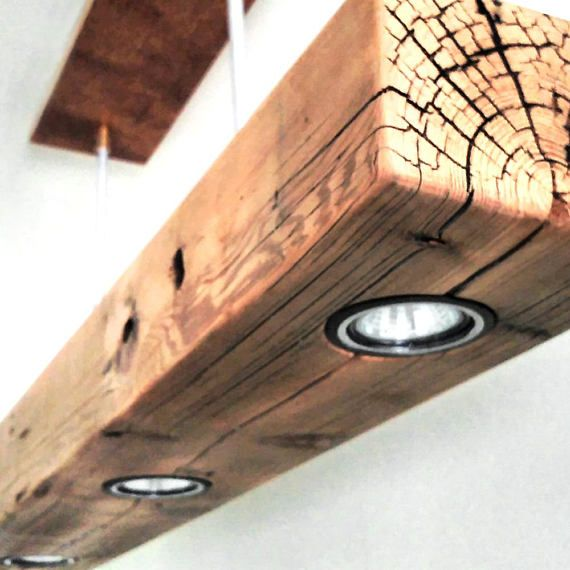 Reclaimed Wood Beam Spot Led Pendant Light Fixture With