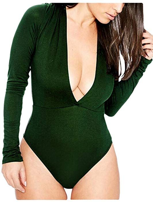 e5209c06ef Amazon.com  Pink Queen Women s One Piece Deep V Tight Bodysuit Jumpsuit  Size XL Green  Clothing