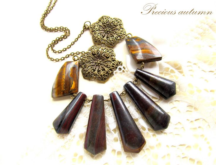 Bronze/tiger iron/tiger eye-necklace-PRECIOUS AUTUMN (75 LEI la afterforever.breslo.ro)