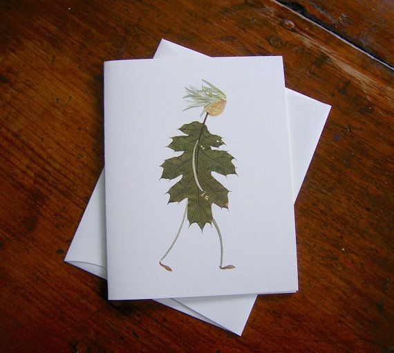 Botanical card  Whimsical greeting card  Pressed flower by PulpArt