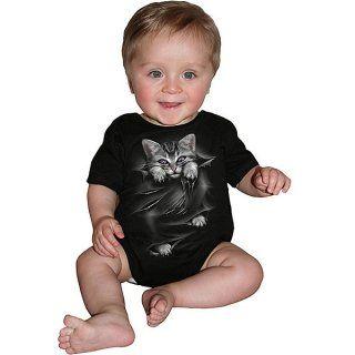 Body bébé gothique noir avec chat gris à griffes sorties et déchirures