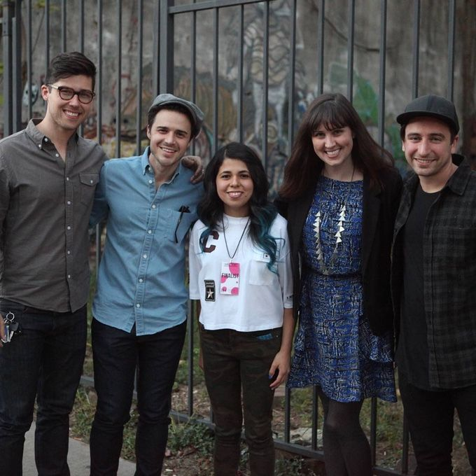Left to right Adam Hambrick singer/songwriter, American Idol winner Kris Allen, Christina Green, Brittany Hodak singer/songwriter and Jon Smith Songwriter/Producer at the 2016 Alchemy Songwriting Competition