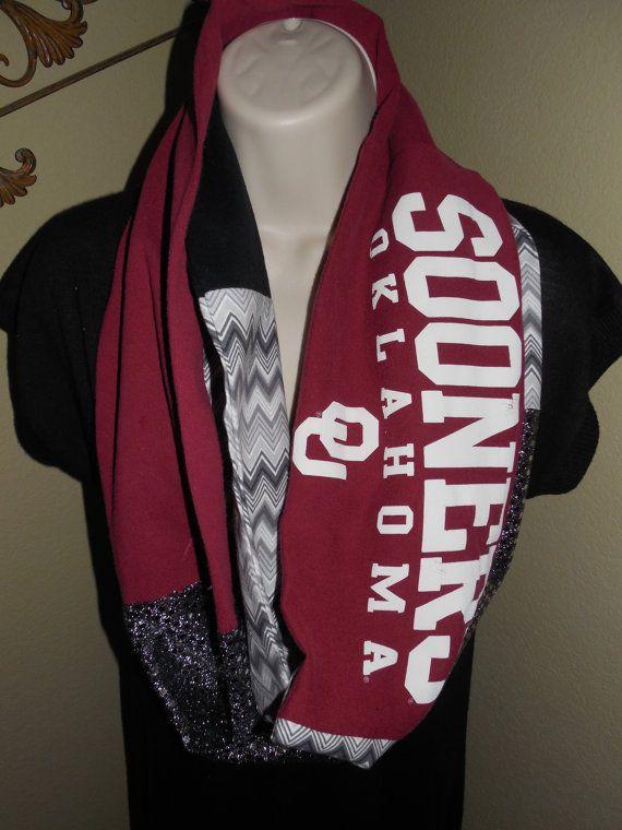 Oklahoma Sooners Infinity Scarf by JerseyMagic on Etsy, $25.00