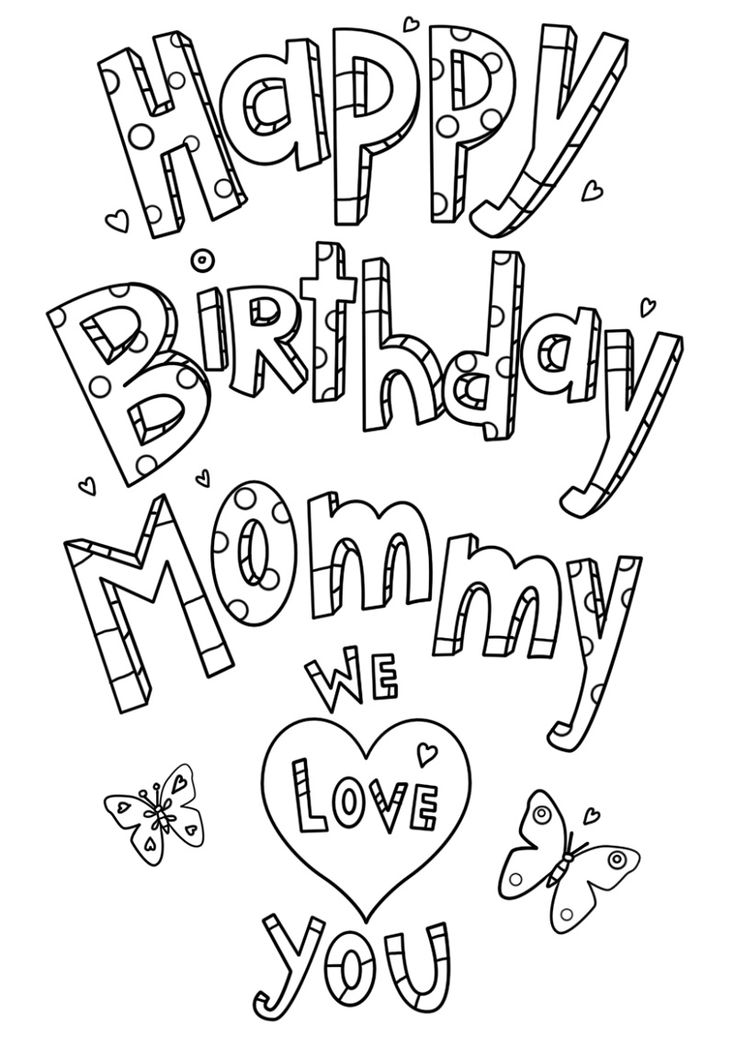 Happy Birthday Mom Coloring Page | Happy birthday mommy ...