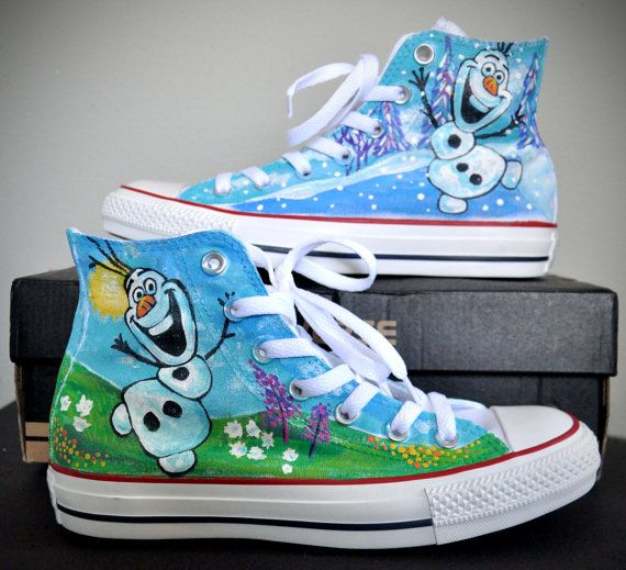 Olaf Custom Converse Sneakers Hand Painted, 100% hand painted- 100% New Shoes  About Cconverse Size: (Unisex Adults) Please choose size by checking our size conversion chart carefully.  If you have a different design idea, please contact me and send me the pictures, i will give you an offer ...
