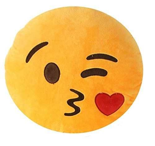 NO: 1 Emoji Smiley Emoticon rond coussin oreiller farcies peluche Soft Toy jetant baiser