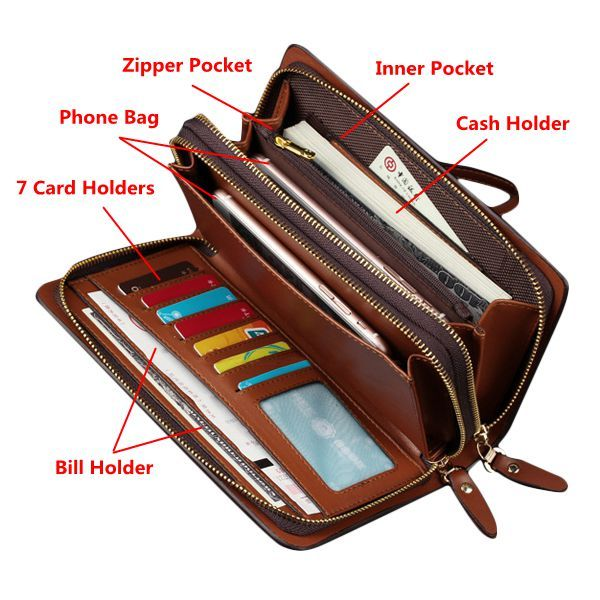 Men Business Clutch Handbag PU Leather Waterproof Cell Phone Bag Wallet