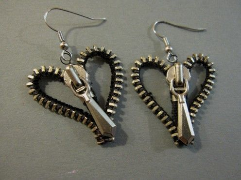 Make earrings from zippers; I am SO making these! Will look great with my zipper dress!