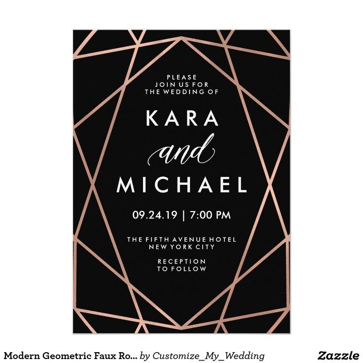 Modern Geometric Faux Rose Gold on Black Wedding Invitation