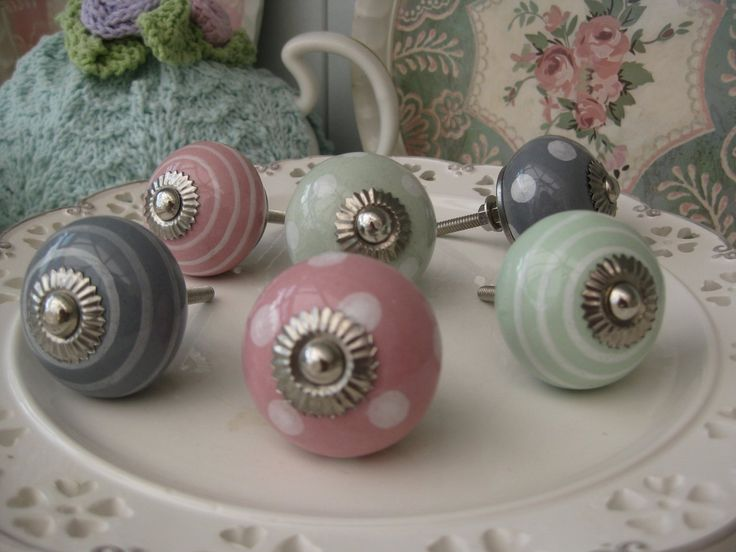 Set of EIGHT pink/pale green/grey (you choose mixed or one colour!) polka dot spot/stripe ceramic KNOB handle pull for furniture (drawers, c...