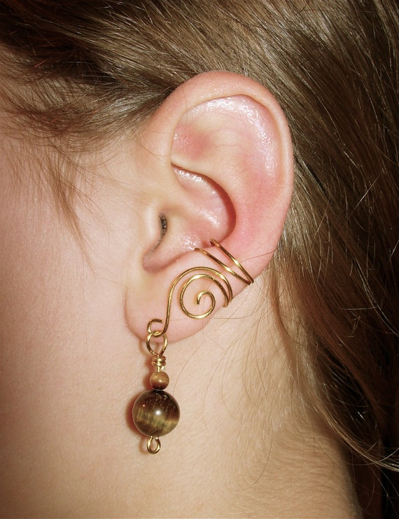 Brass Ear Cuffs with Genuine Tiger Eye Accent Beads