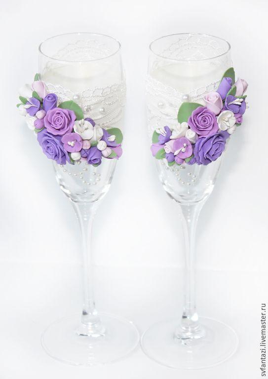 """Купить Свадебные бокалы """"Фиолет+роскошь кружева""""2 - фиолетовый, бокалы для свадьбы, бокалы для молодоженов, бокалы для шампанского"""