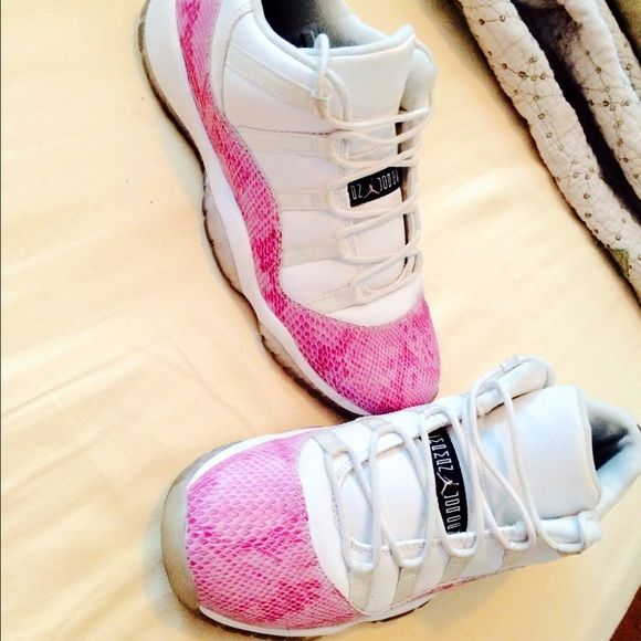 Rarely seen. Pink Snake skin 11s. Sz7 Slight sole discoloration and string discoloration, easily fixable. Accepting bundles ! Jordan Shoes