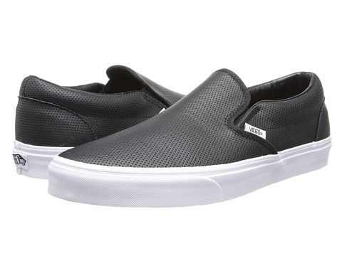 Vans Classic Slip-On™ (Premium Leather) True White/Mono - Zappos.com Free Shipping BOTH Ways
