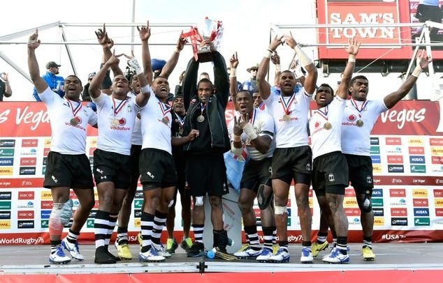 Fiji players celebrate after winning the Cup Final against Australia, 21-15 during the USA Sevens Rugby tournament, at Sam Boyd Stadium in Las Vegas, Nevada, on March 6, 2016.. #VinakaBoys #StrongerThanWinston