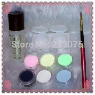 Hot 6 colors Acrylic Powder +acrylic liquid+Double Dappen +pen