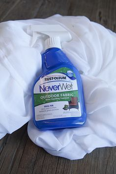 Save those new outdoor curtains and furniture pads from water damage. Buy NeverWet by Rust-Oleum.