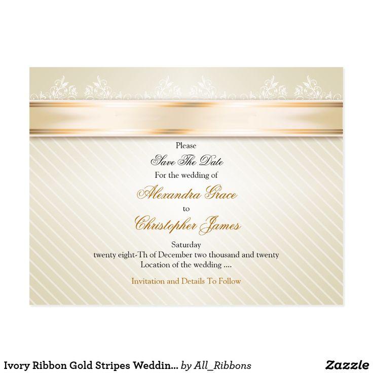 Ivory Ribbon Gold Stripes Wedding Save the Date Postcard #Ivory #savethedate #Gold #Stripes #Wedding #Savethe #Postcard #card #invitation