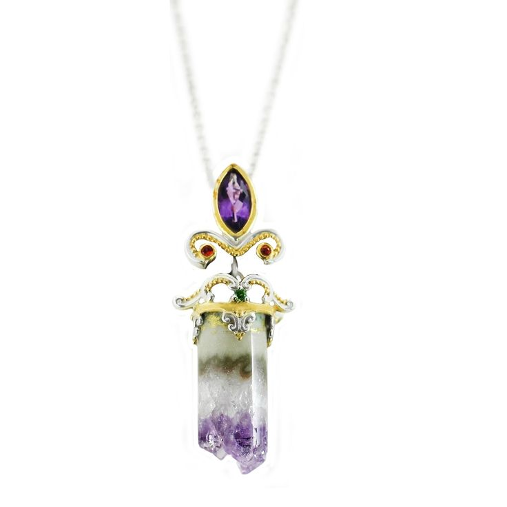 One-of-a-kind Michael Valitutti Rough Amethyst Quartz, Dark Orange Sapphire and Chrome Diopside Pendant