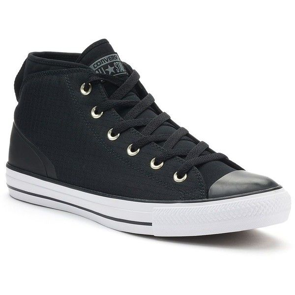 Men's Converse Chuck Taylor All Star Syde Street Winter Sneakers ($70) ❤ liked on Polyvore featuring men's fashion, men's shoes, men's sneakers, black, mens sneakers, mens shoes, g star mens shoes, mens black sneakers and mens round toe shoes