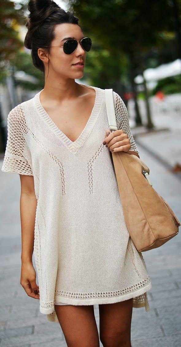 Lovely Crochet detail loose t-shirt style
