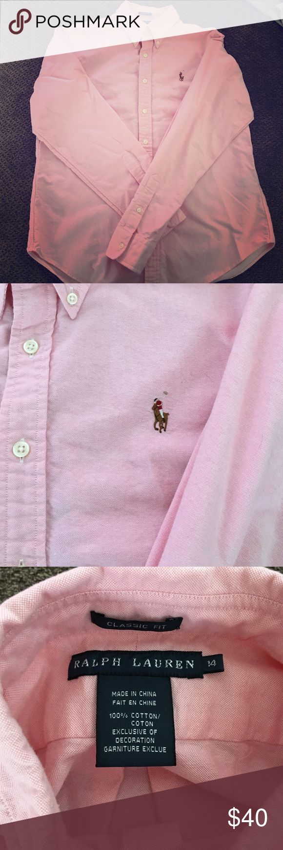 Like new women's Ralph Lauren polo button down Like new women's pastel pink button down oxford polo. Women's size 14 in classic fit. This is not a slim or tight fitting button down. Nice and looser fit. Around a women's large/x large. Only worn a handful of times. Like new Polo by Ralph Lauren Tops Button Down Shirts